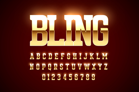 Bling style gold font design, alphabet letters and numbers Ilustrace