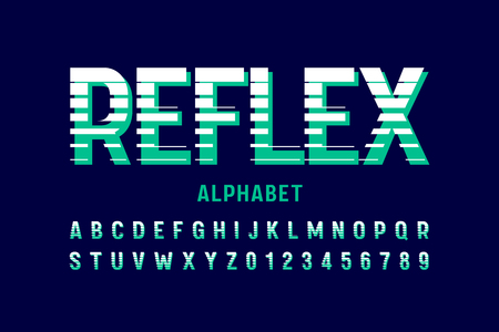 Stylized font design, alphabet letters and numbers