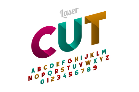Laser cutting font design, alphabet letters and numbers