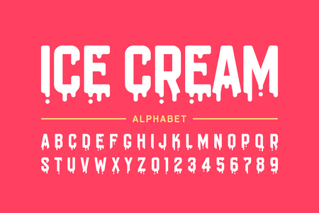 Melting ice cream font, alphabet letters and numbers Stock Vector - 107689154