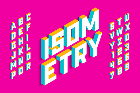 Isometric 3d font design, three-dimensional alphabet letters and numbers Vetores