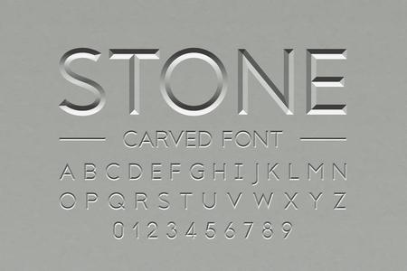 Fuente de piedra tallada, letras del alfabeto y números Ilustración de vector
