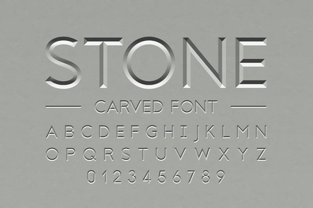 Stone carved font, alphabet letters and numbers