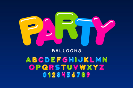 Party balloons style font design, helium balloons alphabet letters and numbers