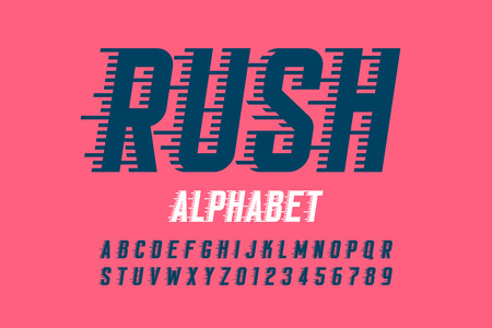 Rush font, alphabet and numbers Illustration
