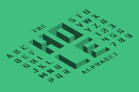 Isometric 3d font