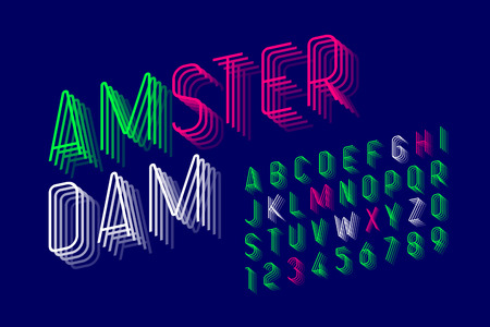 Thin modern font design, alphabet letters and numbers