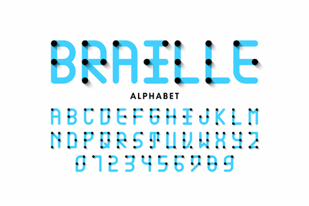 Braille alphabet letters and numbers Illustration