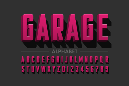 Retro style condensed typeface, vintage alphabet letters and numbers