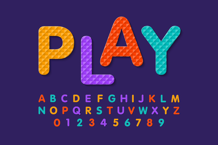 Soft foam puzzle font, alphabet letters and numbers
