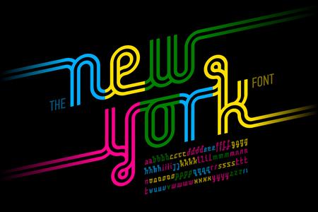 Colorful continuous line font, inline alphabet 矢量图像