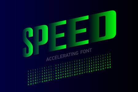 Speed style modern font, accelerating set of alphabet letters and numbers
