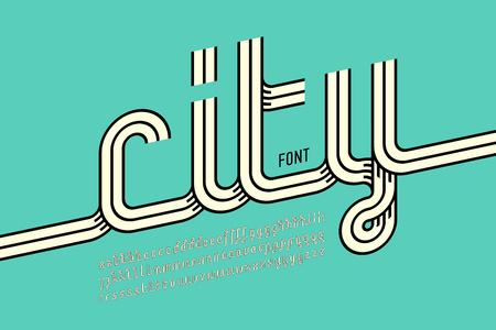 Continuous line font, retro style alphabet Illusztráció