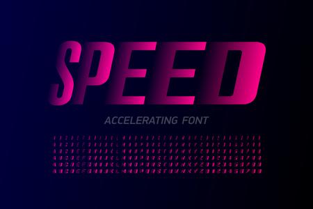 Police moderne de style rapide, accélération de l'ensemble de lettres et de chiffres de l'alphabet Vecteurs
