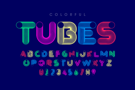 Colorful tubes font, alphabet letters and numbers Vecteurs