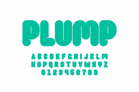 Plump font design, thick alphabet letters and numbers
