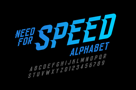 Speed style font, need for speed alphabet letters and numbers