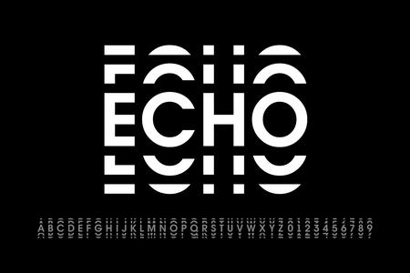 Carattere moderno in stile eco, lettere dell'alfabeto e numeri
