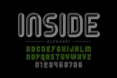 Retro style striped font Ilustrace