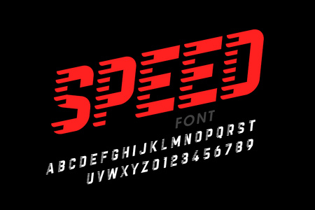 Speed style modern font, alphabet letters and numbers