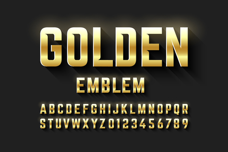 Golden emblem style font, metallic alphabet letters and numbers