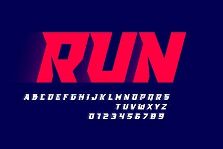 Moderne Schriftart, Buchstaben und Zahlen im Sportstil
