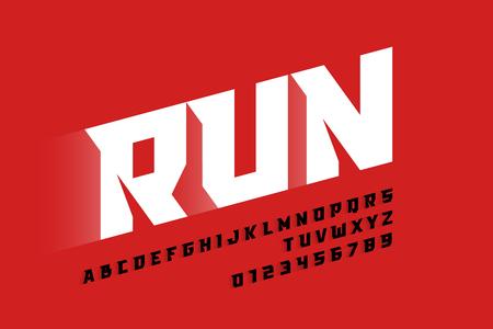 Moderne Schriftart, Buchstaben und Zahlen im Sportstil Vektorgrafik