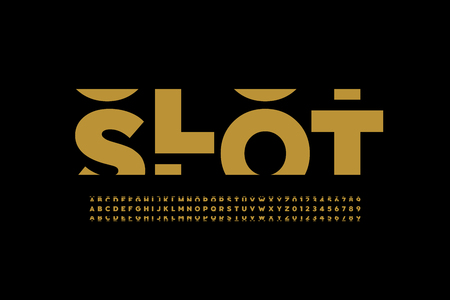Slot machine style font, alphabet letters and numbers Vetores