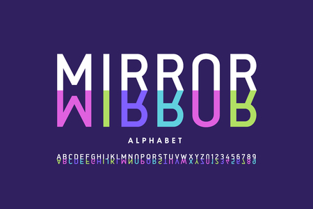 Modern font design, mirror style alphabet letters and numbers
