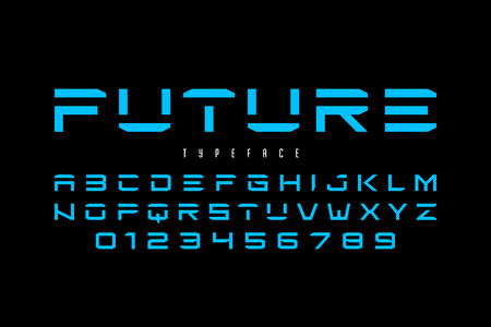 Futuristic font design, alphabet letters and numbers