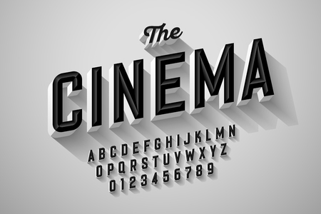 Old movie title vintage font design, retro style alphabet letters and numbers