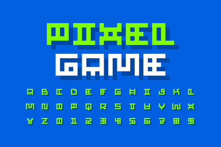 Pixel video game retro style font, 8-bit pixel alphabet letters and numbers Illustration
