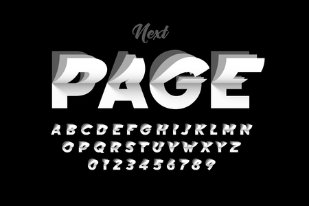 Flip page style modern font, alphabet letters and numbers