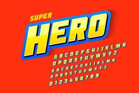 Police de style bande dessinée, super héros, lettres et chiffres de l'alphabet majuscule et minuscule