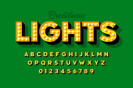 Broadway lights, retro style light bulb font, vintage alphabet, letters and numbers Illustration