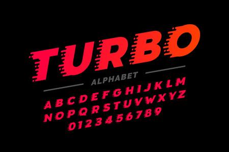 Police, alphabet et nombres rétro de style de vitesse Vecteurs