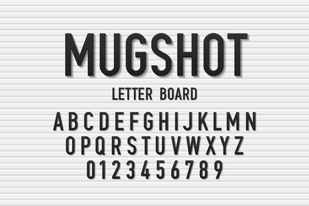 Police mugshot letter board style font, changeable alphabet letters and numbers