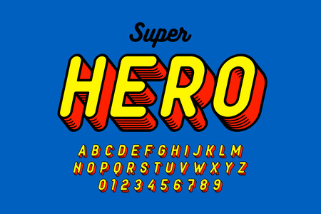 Comics style font design, superhero inspired alphabet, letters and numbers 向量圖像