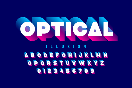 Optical illusion style font design, alphabet letters and numbers