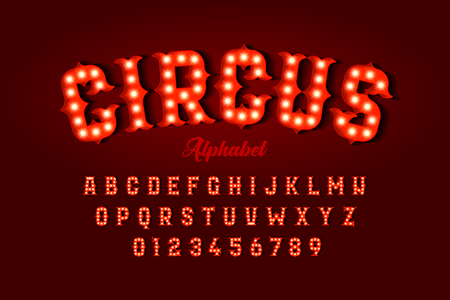 Circus style font design, alphabet letters and numbers