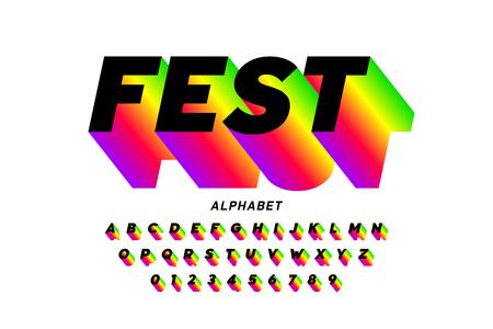 Conception de polices lumineuses de style fest, lettres et chiffres de l'alphabet