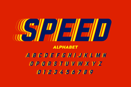 Speed style font, alphabet letters and numbers  イラスト・ベクター素材