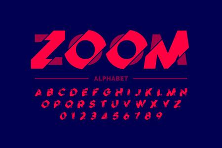 Conception de polices modernes, lettres et chiffres de l'alphabet de style zoom