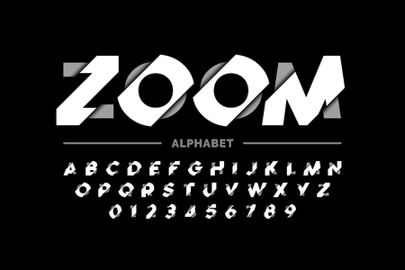 Modern font design, zoom style alphabet letters and numbers