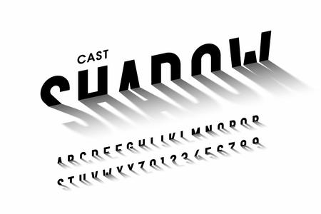 Proyectar fuente de sombra, letras del alfabeto y números Ilustración de vector