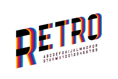 Retro style colorful font, alphabet letters and numbers