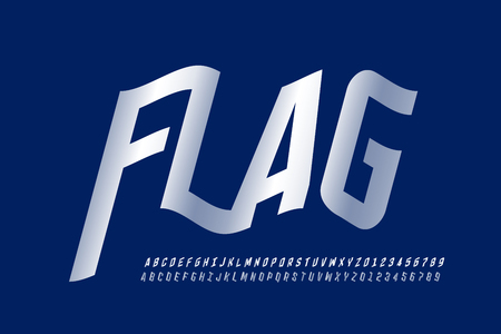 Waving flag style font, alphabet letters and numbers
