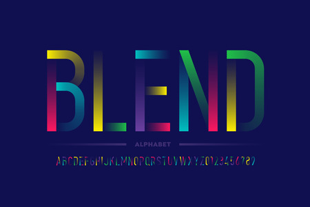 Modern colorful font design, alphabet letters and numbers