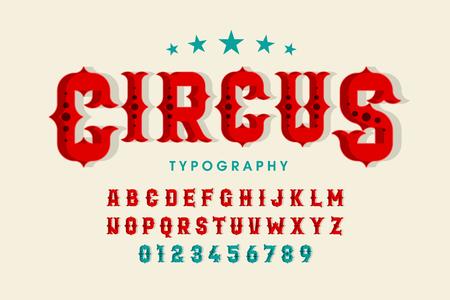 Police de cirque de style rétro, lettres de l'alphabet et chiffres