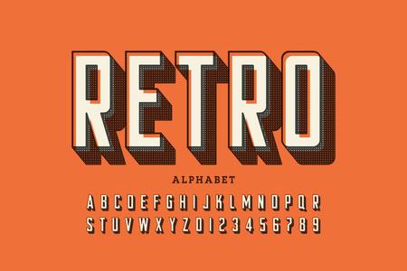 Fuente de estilo de impresión offset retro, letras del alfabeto y números